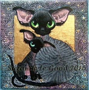 Black smoke devon and kitten canvas 2 cprt