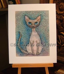 Bluepoint Devon Rex embroidery easel