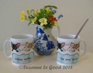 Devon Rex Wakey mug with flowers