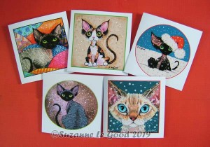 Devon Rex xmas card set all