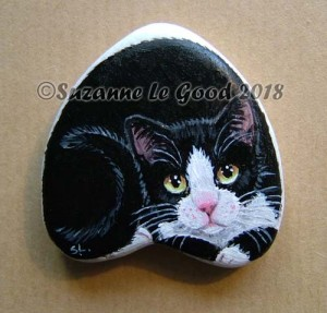 Heart stone black and white cat