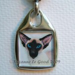 Keyring square Siamese portrait close
