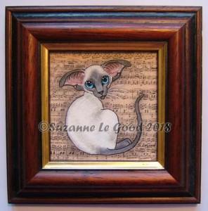 Painting framed bluepoint Siamese frame cprt