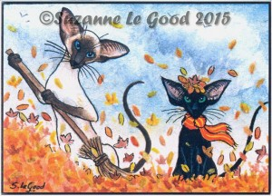 Print ACEO Two Gather Autumn Leaves