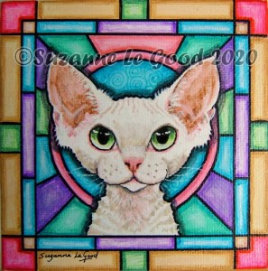 White Devon Rex stained glass cprt