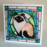 card Birman stained glass
