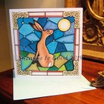 card square Hare stained glass