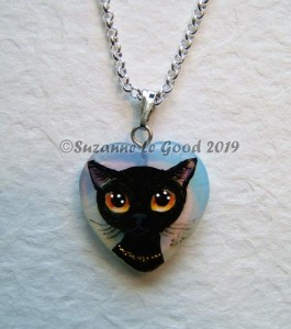 pendant opalite cute black cat