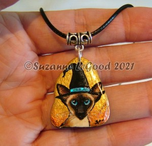 pendant slate Siamese witch hand