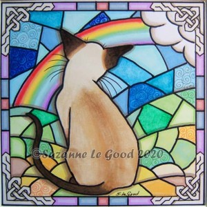 rainbow Bridge Siamese stained glass phot cprt