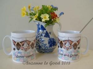 siamese Wakey mug with flowers